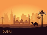 Skyline of Dubai with camel and date palm. United Arab Emirates
