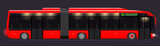 Large articulated bus. Red with modern design. Side view. Translucent windows.