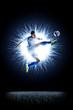 Quadro Professional football soccer player in action isolated on black
