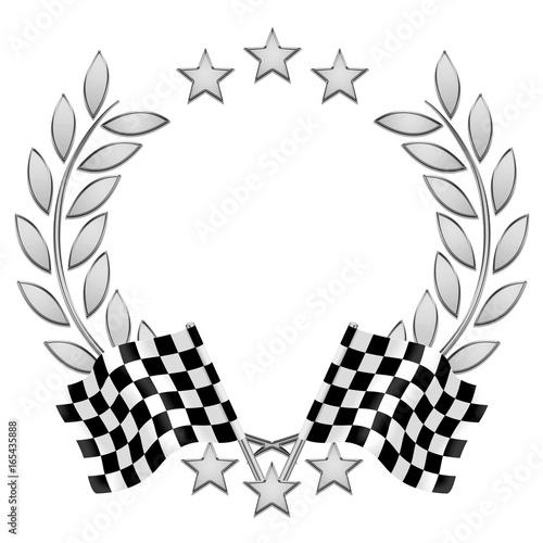 Fotobehang F1 Lauriers, drapeaux damier. Checkered flag