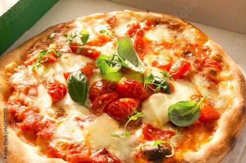 Italian Pizza Margherita in a Pizza Box - 165437003
