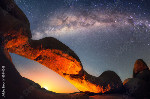 Moonrise at the Spitzkoppe's arch.