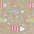 seamless pattern fish swimming underwater doodle - 165443485