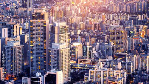 Aluminium Seoel Cityscape of building and hotel in Seoul, South Korea.