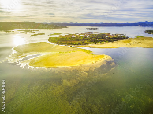 Staande foto Meloen Aerial view of Goat Island near Mallacoota at sunset. Typical Australian landscape.