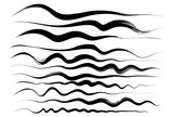 Wavy lines, brush drawing. Vector brushes. Hand-drawn brushstrokes - 165449895
