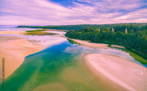 Tuinposter Purper Aerial view of ocean coastline in Australia at low tide with copy space
