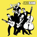 Zespół jazzowy. Pięciu muzyków jazzowych grających w muzyce jazzowej. Styl Kreskówki