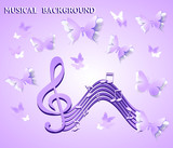 Abstract musical background with butterflies