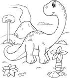 Cute Dinosaur Vector Illustration Coloring Page Art