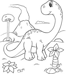 Cute Dinosaur Vector Illustration Coloring Page Art