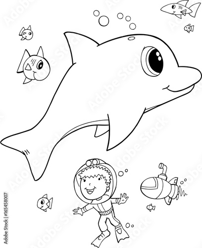 Cute Dolphin Vector Illustration Coloring Page Art
