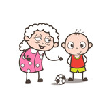 Cartoon Granny Playing Soccer with Grandson Vector Illustration