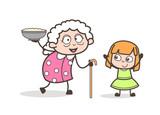 Cartoon Granny Presenting Dish to Her Granddaughter Vector Illustration