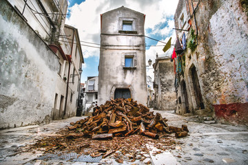 domestic heating firewood old in south italy village Vico del Gargano in Apulia