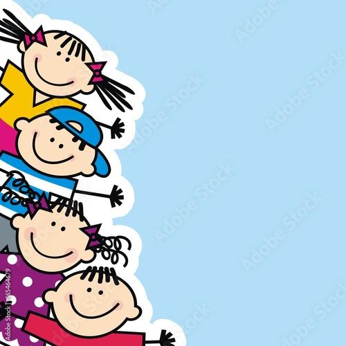 Fototapeta Happy kids, banner, vector icon