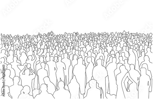 Illustration of large mass of people in perspective - 165478663