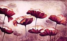 "Постер, картина, фотообои ""Painting poppies canvas"""