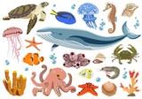 Set of marine and oceanic fauna inhabitants. Vector illustration.