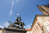Statue of St. George and a fountain - Prague Castle