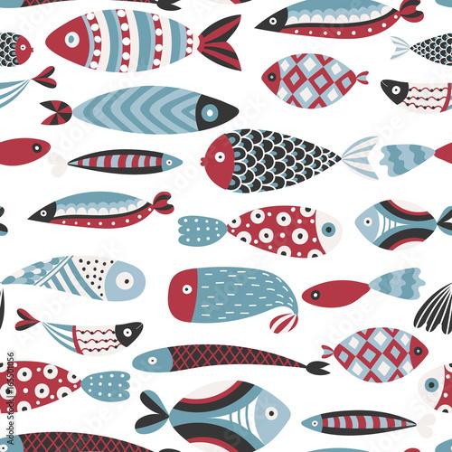 Materiał do szycia Wzór z ryby. Ręcznie rysowane podwodnego świata. Kolorowe tło artystyczne. Akwarium. Może służyć do Tapety, tekstylia, zawijanie, karty, okładka. Ilustracja wektorowa, eps10