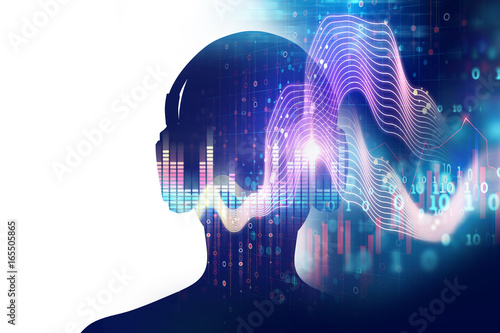 3d illustration of human with headphone on Audio waveform abstract technology background