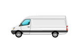 Cargo van isolated icon. Trucking business object, commercial transport and logistics, side view auto vehicle isolated vector illustration.
