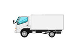 Delivery car isolated icon. Trucking business object, commercial transport and logistics, side view auto vehicle isolated vector illustration.