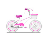 Kids bicycle for girl icon. Modern pedal bike, children toy isolated vector illustration in flat design.
