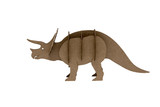 paper Triceratops toy isolated on white background. dinosaur made out of cardboard