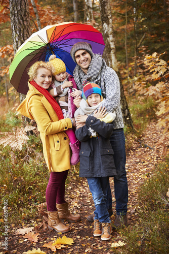 Portrait of family in forest
