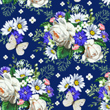 Seamless pattern with white roses and daisies 4