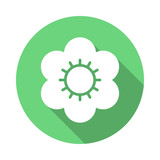 Flower flat icon. Round colorful button, circular vector sign with long shadow effect. Flat style design