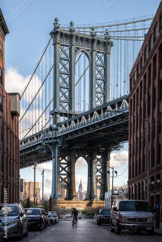 View on the Manhattan bridge in Brooklyn Poster