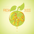 Apple. FRESH JUICE. Vector images and inscriptions. Fun typography calligraphy for labels, badges, stickers. - 165538806