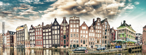 Foto op Canvas Amsterdam Dutch scenery with its canal side houses. Amsterdam panoramic skyline