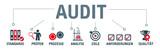 Banner Audit - Qualitätsmanagement - Vector Illustration mit icons