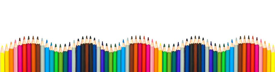 Wave of colorful wooden pencils isolated on white background, panoramic background, back to school concept © Delphotostock