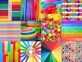 Rainbow colorful photo collage, rainbow colors background
