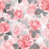 Floral seamless pattern. Watercolor background with roses and polka dot 21