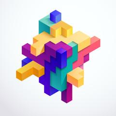 Multicolored 3D cube
