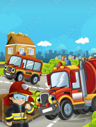 Cartoon stage with different cars for firefighting and fireman - colorful and cheerful scene / illustration for children - 165546632