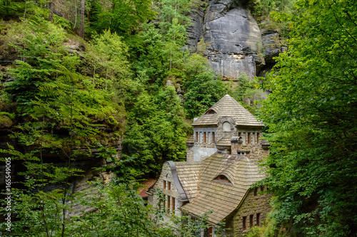 Poster Medieval building in Bohemian Switzerland national park, Czech Republic