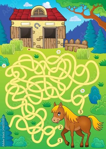 Tuinposter Voor kinderen Maze 33 with horse theme