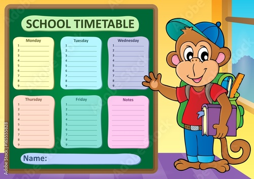 Tuinposter Voor kinderen Weekly school timetable subject 9