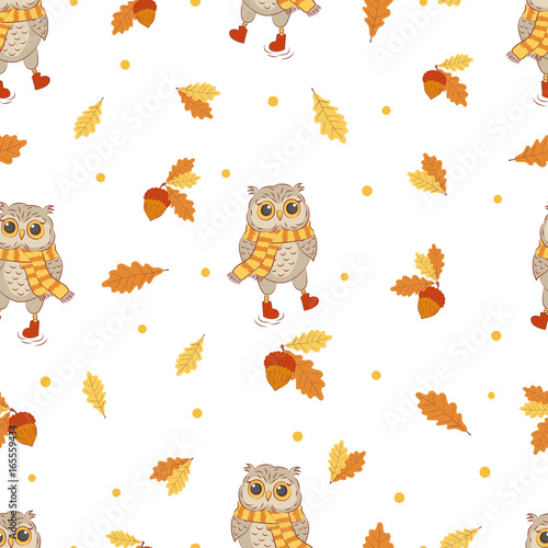 Autumn seamless pattern with cute owls and oak leaves. Vector fall background.