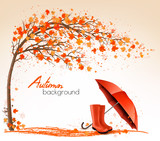 Autumn banners with trees and umbrella and rain boots. Vector.