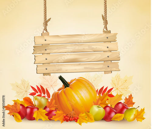 Autumn background with leave and vegetable and wooden sign. Vector. - 165561078