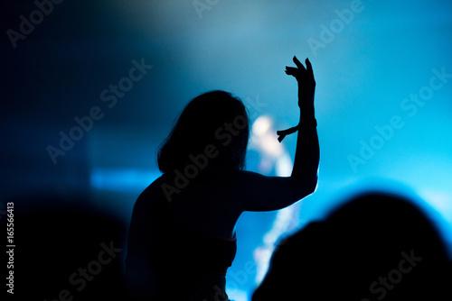 Staande foto Muziekwinkel Silhouette of concert crowd in front of bright stage lights