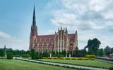 Catholic Church in Gothic  style in Gervyaty . Belarus